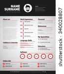 minimalist cv  resume template... | Shutterstock .eps vector #340028807