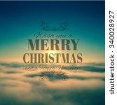 merry crhistmas typography over ...   Shutterstock . vector #340028927