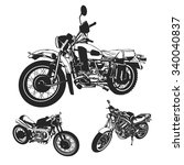 set motorcycle on a white... | Shutterstock .eps vector #340040837