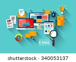 flat vector concept of e mail... | Shutterstock .eps vector #340053137