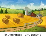 Farm  Rural Landscape Vector...