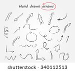 hand drawn arrows. doodle... | Shutterstock .eps vector #340112513