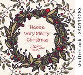 merry christmas vintage style... | Shutterstock .eps vector #340114283