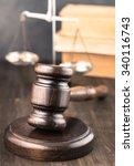 Wooden Gavel On Table Vertical