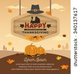 happy thanksgiving card design. ... | Shutterstock .eps vector #340137617