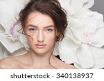 beautiful bride with wedding... | Shutterstock . vector #340138937
