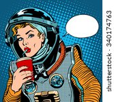 female astronaut drinking soda... | Shutterstock .eps vector #340174763