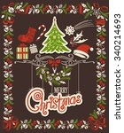 christmas decor set  ornamental ... | Shutterstock .eps vector #340214693