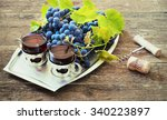 red wine and grapes. wine and... | Shutterstock . vector #340223897