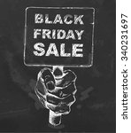 black friday sale on blackboard....   Shutterstock .eps vector #340231697