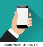 hand holding black touch phone... | Shutterstock . vector #340232177
