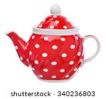 red teapot with white polka
