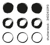 set grunge circle brush on  a... | Shutterstock . vector #340241093