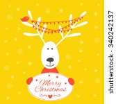 christmas card with deer.... | Shutterstock .eps vector #340242137