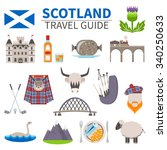 Scotland Travel Icons Set With...