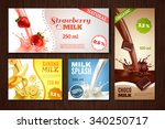 sweet tasty milk with different ... | Shutterstock .eps vector #340250717