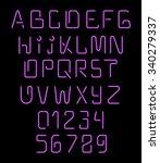 font neon. realistic brilliant  ... | Shutterstock .eps vector #340279337