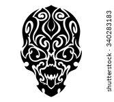 skull tribal tattoo. vector... | Shutterstock .eps vector #340283183