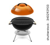 bbq grill with opened orange... | Shutterstock .eps vector #340292933