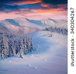 colorful winter sunrise in the... | Shutterstock . vector #340304267
