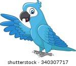 cartoon funny blue macaw... | Shutterstock .eps vector #340307717