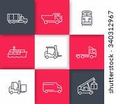 transportation line icons ... | Shutterstock .eps vector #340312967