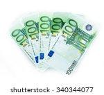 100 euro bills  euro banknotes... | Shutterstock . vector #340344077