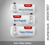 winter stickers with snowman... | Shutterstock .eps vector #340347857
