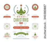 christmas labels and badges... | Shutterstock .eps vector #340380887