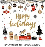 happy holidays. christmas... | Shutterstock .eps vector #340382297