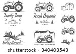 set of logos with the tractor... | Shutterstock .eps vector #340403543