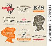 set of retro barber shop labels ... | Shutterstock .eps vector #340404863