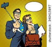 selfie stick businessman and... | Shutterstock .eps vector #340415897
