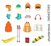 Winter Equipment Icons Set ...