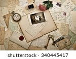 Постер, плакат: Old letters photographs and