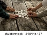 pile of puzzle pieces lying on...   Shutterstock . vector #340446437