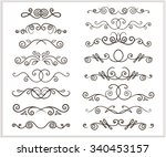 vector set of unfilled doodle... | Shutterstock .eps vector #340453157