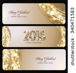 christmas banner  golden lights ... | Shutterstock .eps vector #340471583