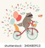 traveling by bike. friends cute ... | Shutterstock .eps vector #340480913
