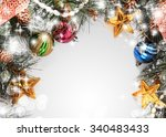 christmas background isolated... | Shutterstock . vector #340483433