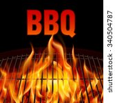closeup bbq grill fire on black ... | Shutterstock .eps vector #340504787