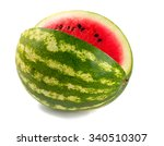 Cut Water Melon Isolated On...