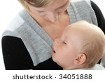 a mother and her tired cute... | Shutterstock . vector #34051888