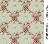 seamless pattern with christmas ... | Shutterstock . vector #340529963