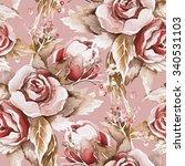roses seamless pattern | Shutterstock . vector #340531103