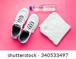 sport concept. bottle  shoes...   Shutterstock . vector #340533497