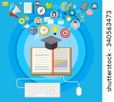 concept of online education. e... | Shutterstock . vector #340563473