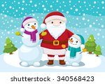 cartoon snowmen and santa claus ... | Shutterstock .eps vector #340568423