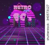 retro style 80s disco design... | Shutterstock .eps vector #340573127