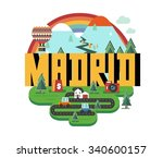 madrid city in spain is a... | Shutterstock .eps vector #340600157